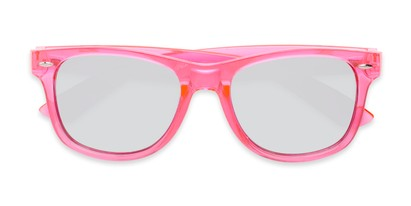 Folded of Hanson #60030 in Pink Frame with Silver Mirrored Lenses