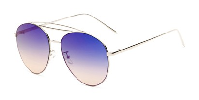 Angle of Harbor #3136 in Silver Frame with Blue/Pink Mirrored Gradient Lenses, Women's and Men's Aviator Sunglasses