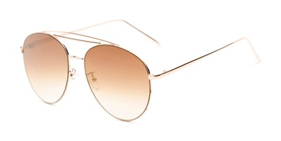 Angle of Harbor #3136 in Gold Frame with Gold Mirrored Gradient Lenses, Women's and Men's Aviator Sunglasses