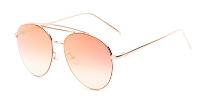 Angle of Harbor #3136 in Gold Frame with Pink Mirrored Gradient Lenses, Women's and Men's Aviator Sunglasses