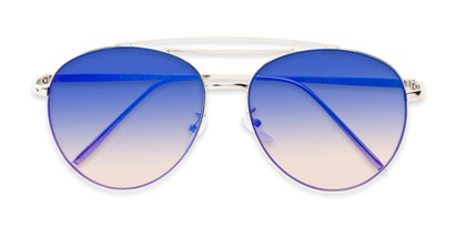 Folded of Harbor #3136 in Silver Frame with Blue/Pink Mirrored Gradient Lenses