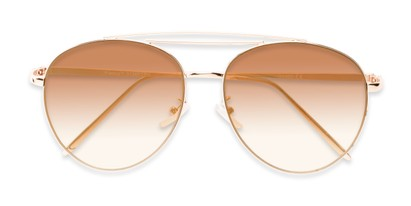 Folded of Harbor #3136 in Gold Frame with Gold Mirrored Gradient Lenses