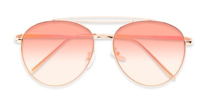 Folded of Harbor #3136 in Gold Frame with Pink Mirrored Gradient Lenses
