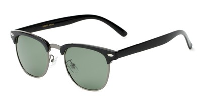 Angle of Harlem in Black/Grey Frame with Green Lenses, Women's and Men's Browline Sunglasses