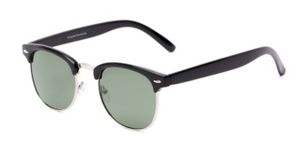 Angle of Harlem #1926 in Black/Silver Frame with Green Lenses, Women's and Men's Browline Sunglasses