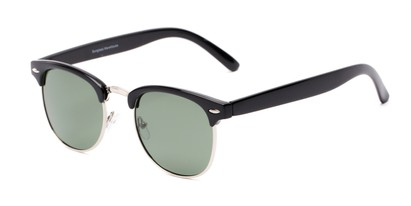 Angle of Harlem in Black/Silver Frame with Green Lenses, Women's and Men's Browline Sunglasses