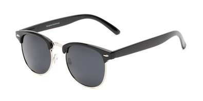 Angle of Harlem in Black/Silver Frame with Grey Lenses, Women's and Men's Browline Sunglasses