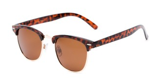 Angle of Harlem #1926 in Brown Tortoise Frame with Amber Lenses, Women's and Men's Browline Sunglasses