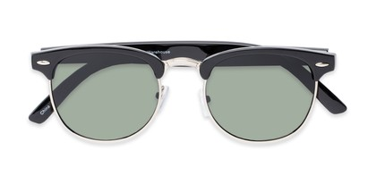 Folded of Harlem in Black/Silver Frame with Green Lenses