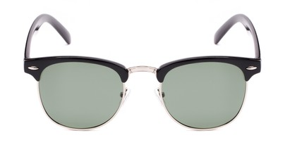 Front of Harlem in Black/Silver Frame with Green Lenses