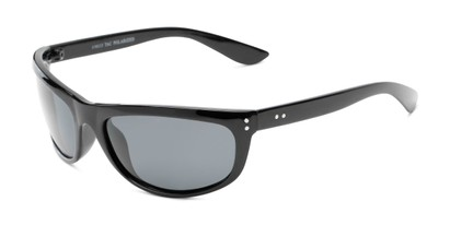 Angle of Harris #5701 in Glossy Black Frame with Smoke Lenses, Men's Sport & Wrap-Around Sunglasses