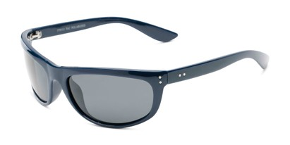Angle of Harris #5701 in Glossy Navy Blue Frame with Smoke Lenses, Men's Sport & Wrap-Around Sunglasses