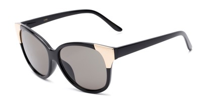 Angle of Hartley #31980 in Glossy Black/Gold Frame with Grey Lenses, Women's Cat Eye Sunglasses