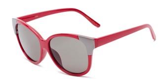 Angle of Hartley #31980 in Glossy Red/Silver Frame with Grey Lenses, Women's Cat Eye Sunglasses