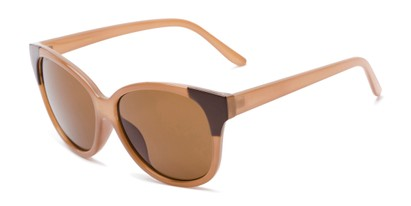 Angle of Hartley #31980 in Glossy Brown Frame with Amber Lenses, Women's Cat Eye Sunglasses