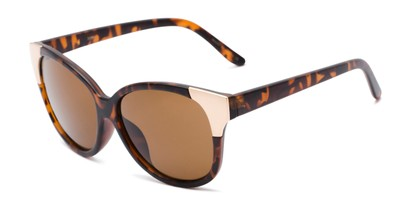 Angle of Hartley #31980 in Matte Tortoise/Gold Frame with Amber Lenses, Women's Cat Eye Sunglasses
