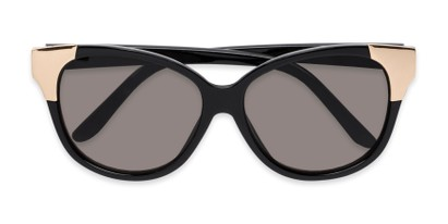 Folded of Hartley #31980 in Glossy Black/Gold Frame with Grey Lenses