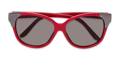 Folded of Hartley #31980 in Glossy Red/Silver Frame with Grey Lenses