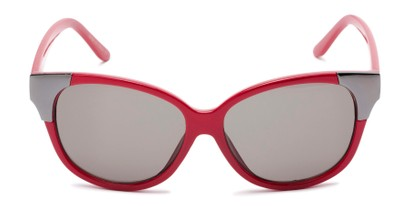 Front of Hartley #31980 in Glossy Red/Silver Frame with Grey Lenses