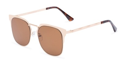 Angle of Hayes #4299 in Gold Frame with Amber Lenses, Women's and Men's Retro Square Sunglasses