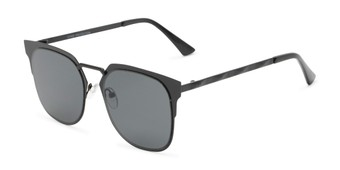 Angle of Hayes #4299 in Black Frame with Grey Lenses, Women's and Men's Retro Square Sunglasses