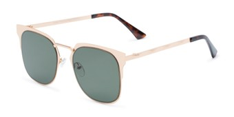 Angle of Hayes #4299 in Gold Frame with Green Lenses, Women's and Men's Retro Square Sunglasses