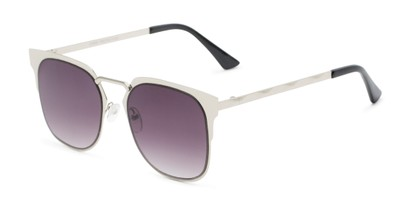 Angle of Hayes #4299 in Silver Frame with Smoke Lenses, Women's and Men's Retro Square Sunglasses