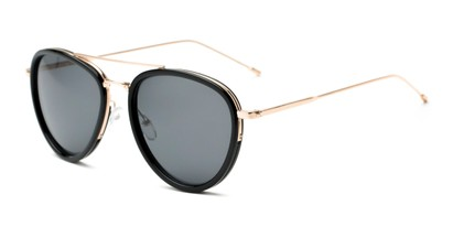 Angle of Hendrix #2028 in Black/Gold Frame with Grey Lenses, Women's and Men's Aviator Sunglasses