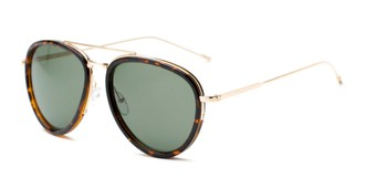 Angle of Hendrix #2028 in Tortoise/Gold Frame with Green Lenses, Women's and Men's Aviator Sunglasses