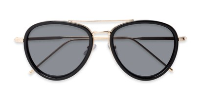 Folded of Hendrix #2028 in Black/Gold Frame with Grey Lenses