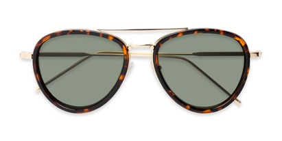 Folded of Hendrix #2028 in Tortoise/Gold Frame with Green Lenses