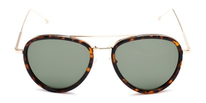 Front of Hendrix #2028 in Tortoise/Gold Frame with Green Lenses