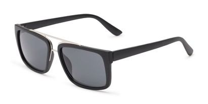 Angle of Henley #5326 in Matte Black Frame with Grey Lenses, Women's and Men's Square Sunglasses