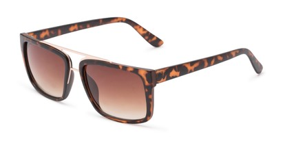 Angle of Henley #5326 in Tortoise Frame with Amber Lenses, Women's and Men's Square Sunglasses