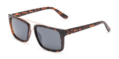 Angle of Henley #5326 in Tortoise Frame with Grey Lenses, Women's and Men's Square Sunglasses