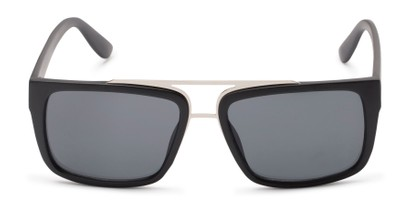 Front of Henley #5326 in Matte Black Frame with Grey Lenses