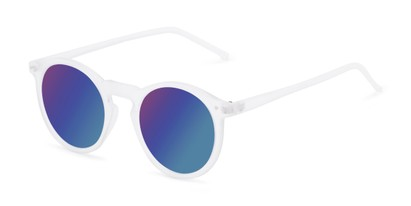 Angle of Hoffman #9728 in Frosted Clear Frame with Blue Mirrored Lenses, Women's and Men's Round Sunglasses