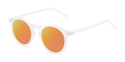 Angle of Hoffman #9728 in Frosted Clear Frame with Orange Mirrored Lenses, Women's and Men's Round Sunglasses