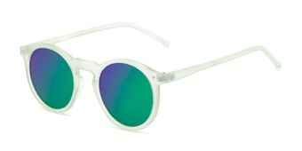 Angle of Hoffman #9728 in Frosted Light Green Frame with Green/Purple Mirrored Lenses, Women's and Men's Round Sunglasses