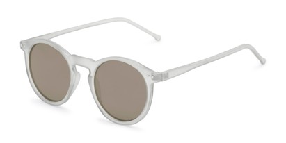 Angle of Hoffman #9728 in Frosted Grey Frame with Gold Mirrored Lenses, Women's and Men's Round Sunglasses