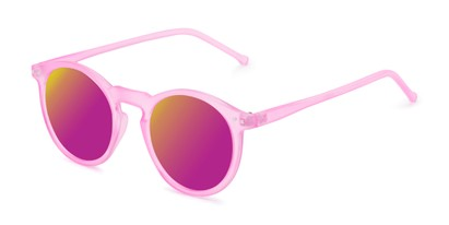 Angle of Hoffman #9728 in Frosted Pink Frame with Pink Mirrored Lenses, Women's and Men's Round Sunglasses