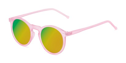 Angle of Hoffman #9728 in Frosted Light Pink Frame with Yellow/Green Mirrored Lenses, Women's and Men's Round Sunglasses