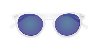 Folded of Hoffman #9728 in Frosted Clear Frame with Blue Mirrored Lenses
