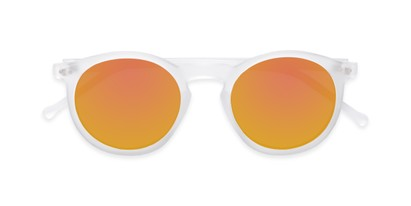 Folded of Hoffman #9728 in Frosted Clear Frame with Orange Mirrored Lenses