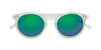 Folded of Hoffman #9728 in Frosted Light Green Frame with Green/Purple Mirrored Lenses