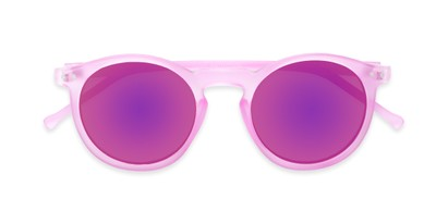Folded of Hoffman #9728 in Frosted Pink Frame with Pink Mirrored Lenses