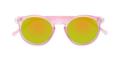Folded of Hoffman #9728 in Frosted Light Pink Frame with Yellow/Green Mirrored Lenses