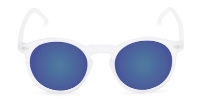 Front of Hoffman #9728 in Frosted Clear Frame with Blue Mirrored Lenses