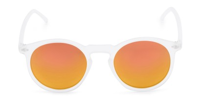 Front of Hoffman #9728 in Frosted Clear Frame with Orange Mirrored Lenses