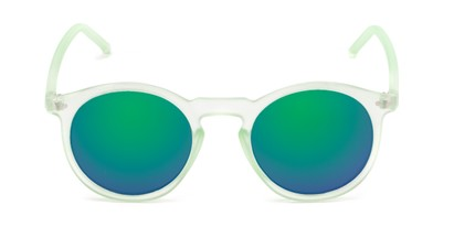 Front of Hoffman #9728 in Frosted Light Green Frame with Green/Purple Mirrored Lenses
